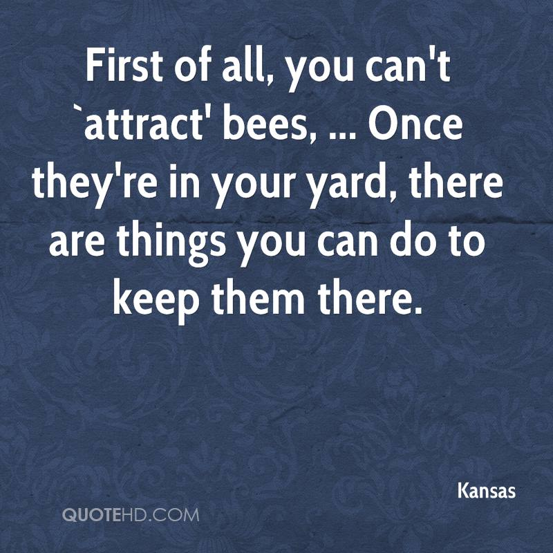 First of all, you can't `attract' bees, ... Once they're in your yard, there are things you can do to keep them there.