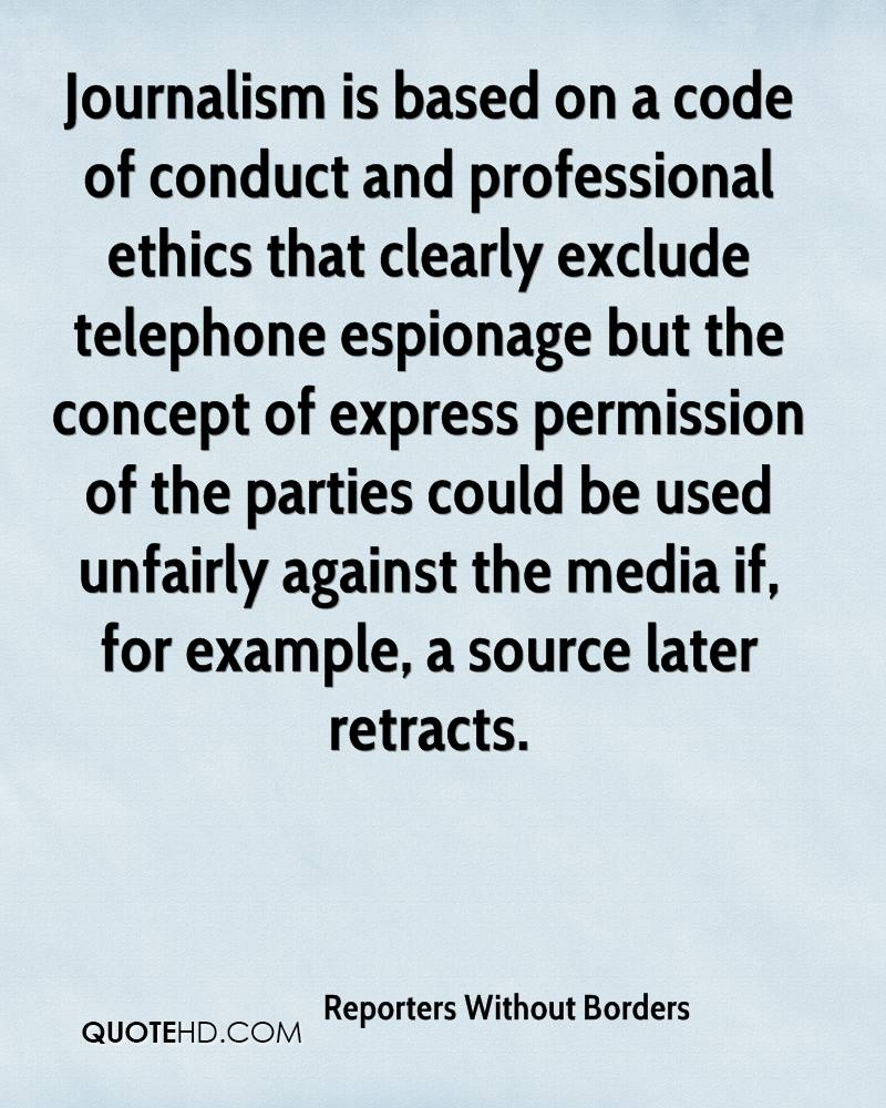 Ethics Professional Responsibility: Reporters Without Borders Quotes