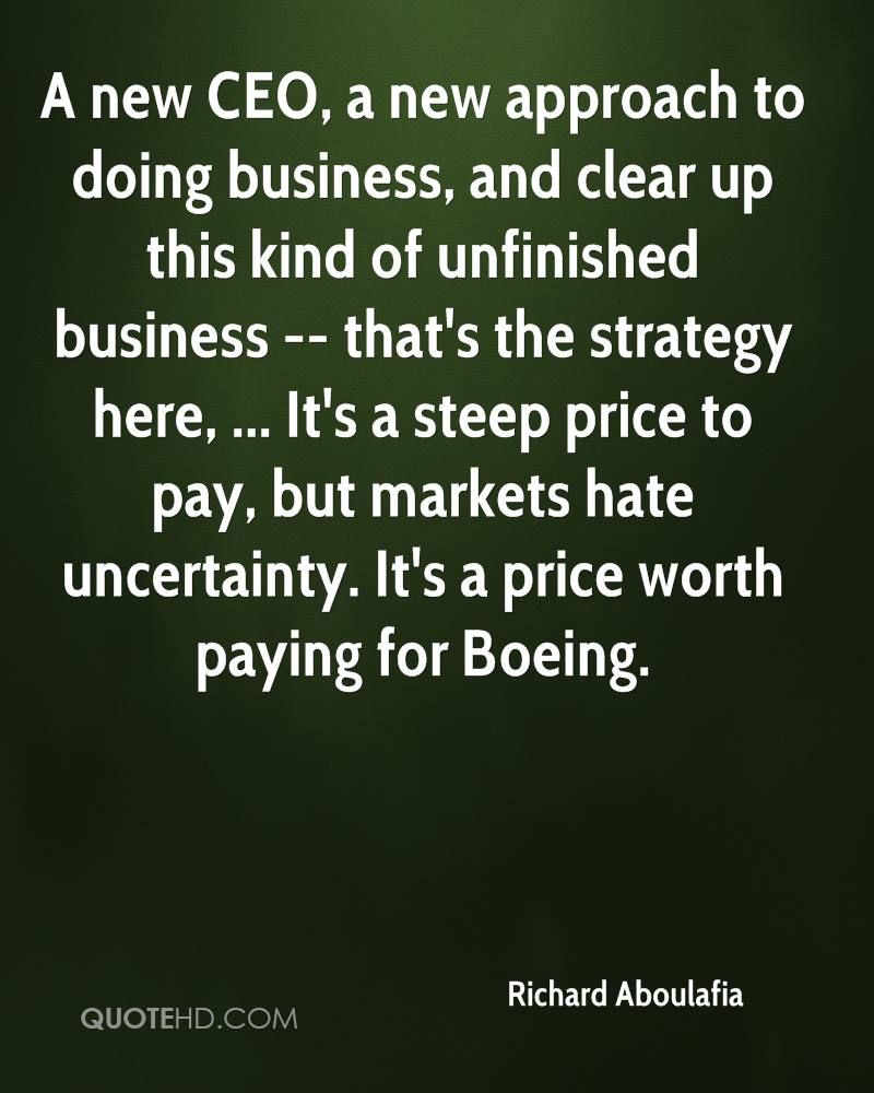 A new CEO, a new approach to doing business, and clear up this kind of unfinished business -- that's the strategy here, ... It's a steep price to pay, but markets hate uncertainty. It's a price worth paying for Boeing.