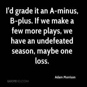 I'd grade it an A-minus, B-plus. If we make a few more plays, we have an undefeated season, maybe one loss.