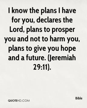 I know the plans I have for you, declares the Lord, plans to prosper you and not to harm you, plans to give you hope and a future. (Jeremiah 29:11).