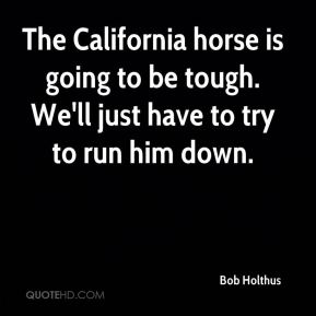 The California horse is going to be tough. We'll just have to try to run him down.
