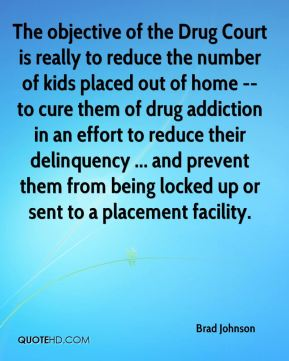 Brad Johnson - The objective of the Drug Court is really to reduce the number of kids placed out of home -- to cure them of drug addiction in an effort to reduce their delinquency ... and prevent them from being locked up or sent to a placement facility.
