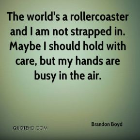 The world's a rollercoaster and I am not strapped in. Maybe I should hold with care, but my hands are busy in the air.