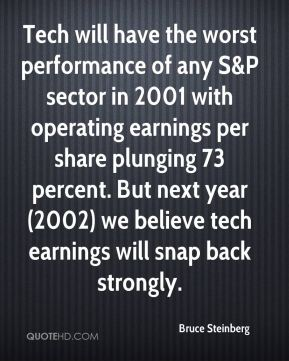 Bruce Steinberg - Tech will have the worst performance of any S&P sector in 2001 with operating earnings per share plunging 73 percent. But next year (2002) we believe tech earnings will snap back strongly.