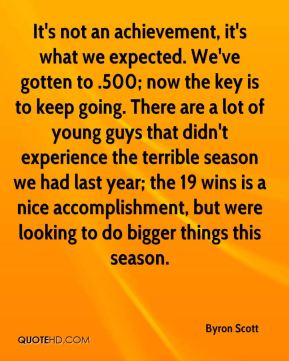 It's not an achievement, it's what we expected. We've gotten to .500; now the key is to keep going. There are a lot of young guys that didn't experience the terrible season we had last year; the 19 wins is a nice accomplishment, but were looking to do bigger things this season.