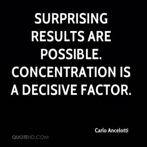 Surprising results are possible. Concentration is a decisive factor.