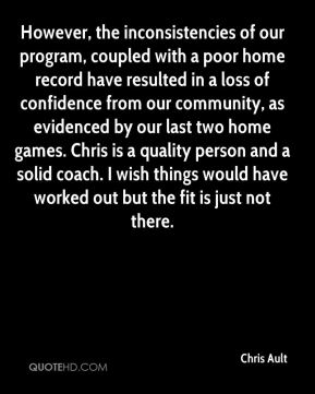 However, the inconsistencies of our program, coupled with a poor home record have resulted in a loss of confidence from our community, as evidenced by our last two home games. Chris is a quality person and a solid coach. I wish things would have worked out but the fit is just not there.
