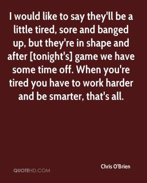 I would like to say they'll be a little tired, sore and banged up, but they're in shape and after [tonight's] game we have some time off. When you're tired you have to work harder and be smarter, that's all.