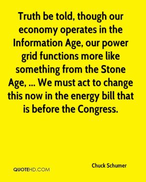 Chuck Schumer - Truth be told, though our economy operates in the Information Age, our power grid functions more like something from the Stone Age, ... We must act to change this now in the energy bill that is before the Congress.