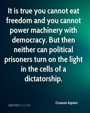 It is true you cannot eat freedom and you cannot power machinery with democracy. But then neither can political prisoners turn on the light in the cells of a dictatorship.