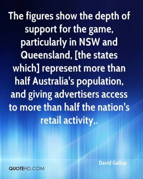The figures show the depth of support for the game, particularly in NSW and Queensland, [the states which] represent more than half Australia's population, and giving advertisers access to more than half the nation's retail activity.