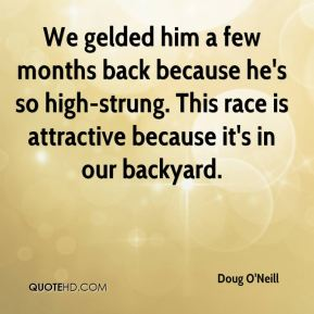 Doug O'Neill - We gelded him a few months back because he's so high-strung. This race is attractive because it's in our backyard.