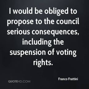 Franco Frattini - I would be obliged to propose to the council serious consequences, including the suspension of voting rights.
