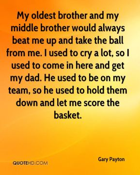 My oldest brother and my middle brother would always beat me up and take the ball from me. I used to cry a lot, so I used to come in here and get my dad. He used to be on my team, so he used to hold them down and let me score the basket.