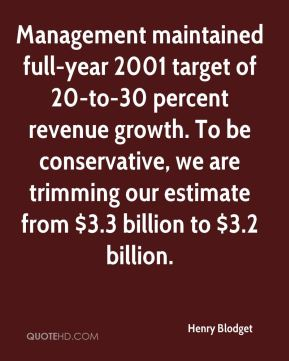 Henry Blodget - Management maintained full-year 2001 target of 20-to-30 percent revenue growth. To be conservative, we are trimming our estimate from $3.3 billion to $3.2 billion.