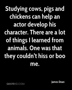 Studying cows, pigs and chickens can help an actor develop his character. There are a lot of things I learned from animals. One was that they couldn't hiss or boo me.