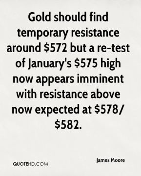 James Moore - Gold should find temporary resistance around $572 but a re-test of January's $575 high now appears imminent with resistance above now expected at $578/$582.