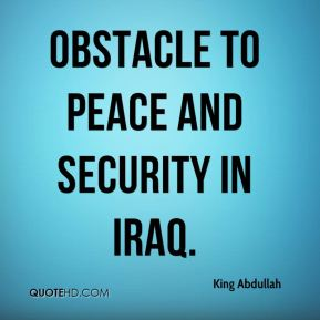obstacle to peace and security in Iraq.