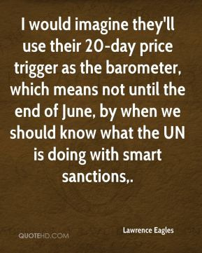 I would imagine they'll use their 20-day price trigger as the barometer, which means not until the end of June, by when we should know what the UN is doing with smart sanctions.