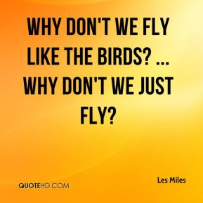 Why don't we fly like the birds? ... Why don't we just fly?