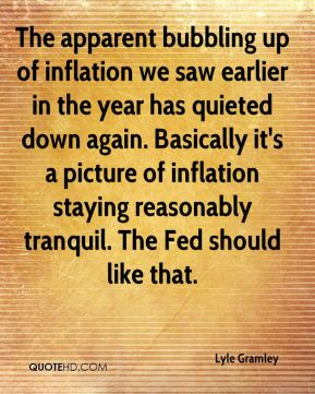 The apparent bubbling up of inflation we saw earlier in the year has quieted down again. Basically it's a picture of inflation staying reasonably tranquil. The Fed should like that.
