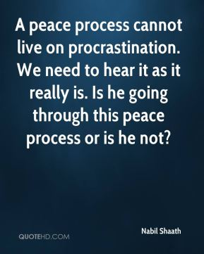 A peace process cannot live on procrastination. We need to hear it as it really is. Is he going through this peace process or is he not?
