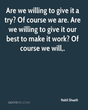 Are we willing to give it a try? Of course we are. Are we willing to give it our best to make it work? Of course we will.