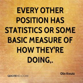 Olin Kreutz  - Every other position has statistics or some basic measure of how they're doing.