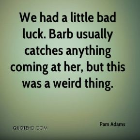 Pam Adams  - We had a little bad luck. Barb usually catches anything coming at her, but this was a weird thing.