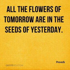 Proverb  - All the flowers of tomorrow are in the seeds of yesterday.
