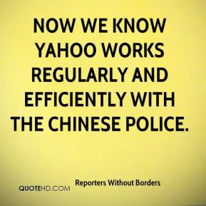 Now we know Yahoo works regularly and efficiently with the Chinese police.