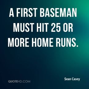 A first baseman must hit 25 or more home runs.