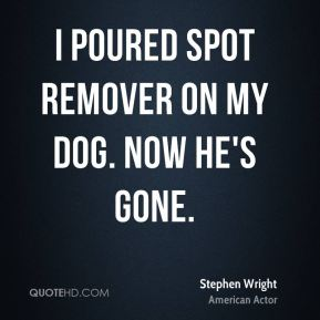 I poured spot remover on my dog. Now he's gone.