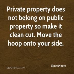 Private property does not belong on public property so make it clean cut. Move the hoop onto your side.