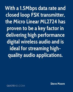 With a 1.5Mbps data rate and closed loop FSK transmitter, the Micro Linear ML2724 has proven to be a key factor in delivering high performance digital wireless audio and is ideal for streaming high-quality audio applications.