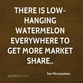 There is low-hanging watermelon everywhere to get more market share.