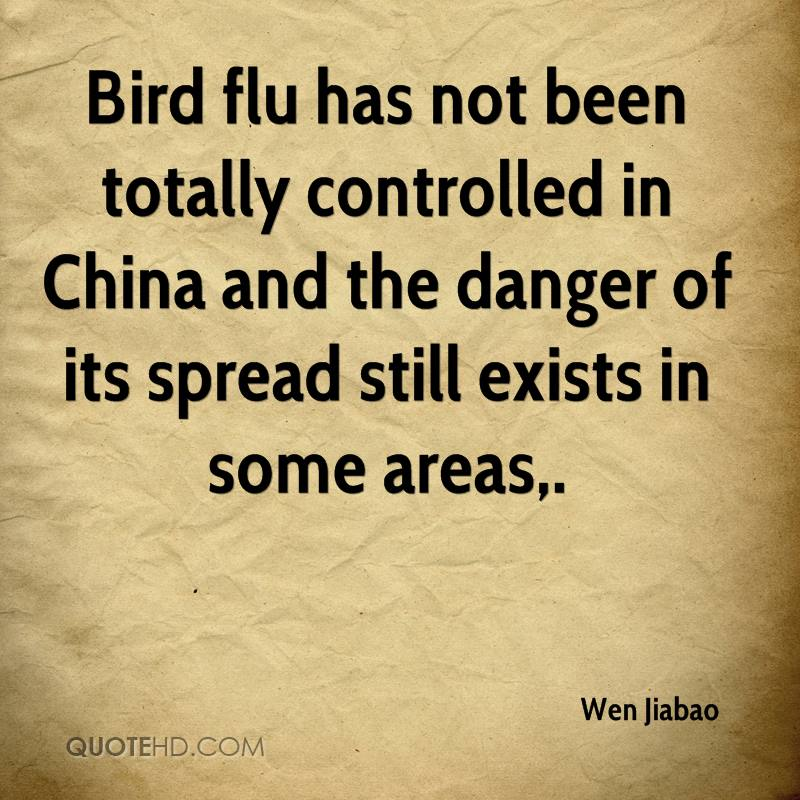 Bird flu has not been totally controlled in China and the danger of its spread still exists in some areas.