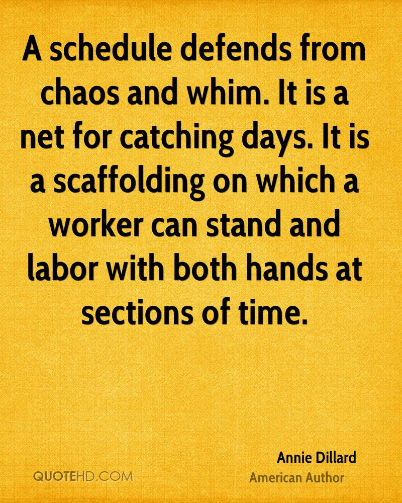 A schedule defends from chaos and whim. It is a net for catching days. It is a scaffolding on which a worker can stand and labor with both hands at sections of time.