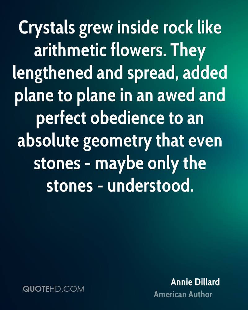 Crystals grew inside rock like arithmetic flowers. They lengthened and spread, added plane to plane in an awed and perfect obedience to an absolute geometry that even stones - maybe only the stones - understood.