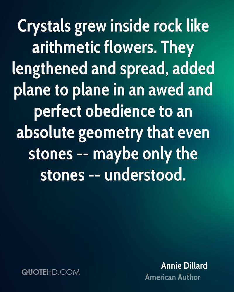 Crystals grew inside rock like arithmetic flowers. They lengthened and spread, added plane to plane in an awed and perfect obedience to an absolute geometry that even stones -- maybe only the stones -- understood.