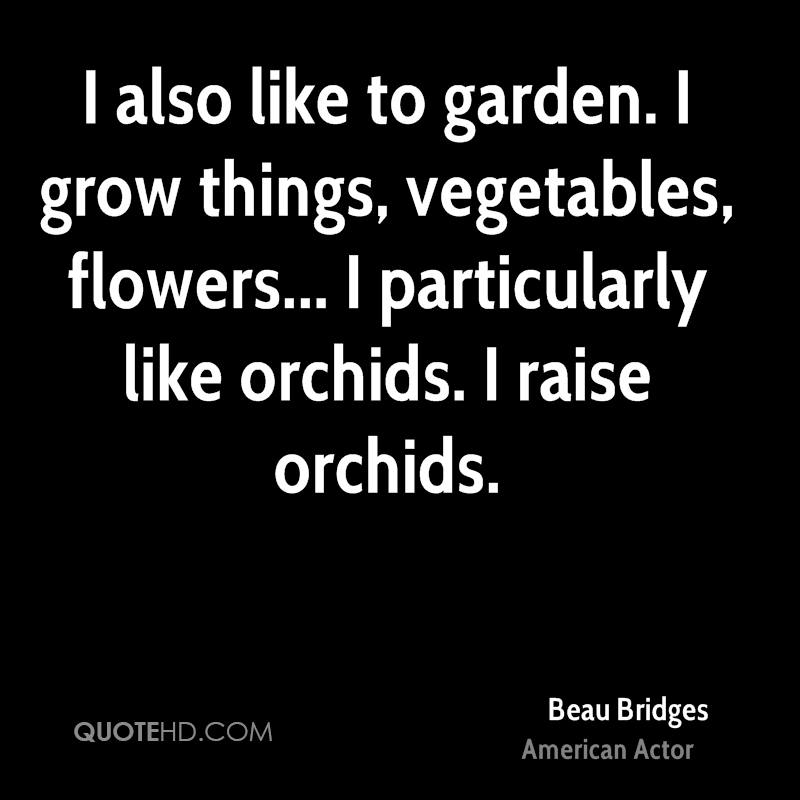 I also like to garden. I grow things, vegetables, flowers... I particularly like orchids. I raise orchids.