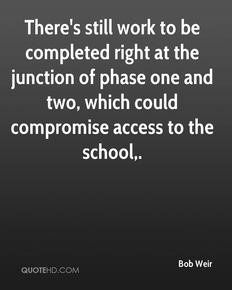 There's still work to be completed right at the junction of phase one and two, which could compromise access to the school.