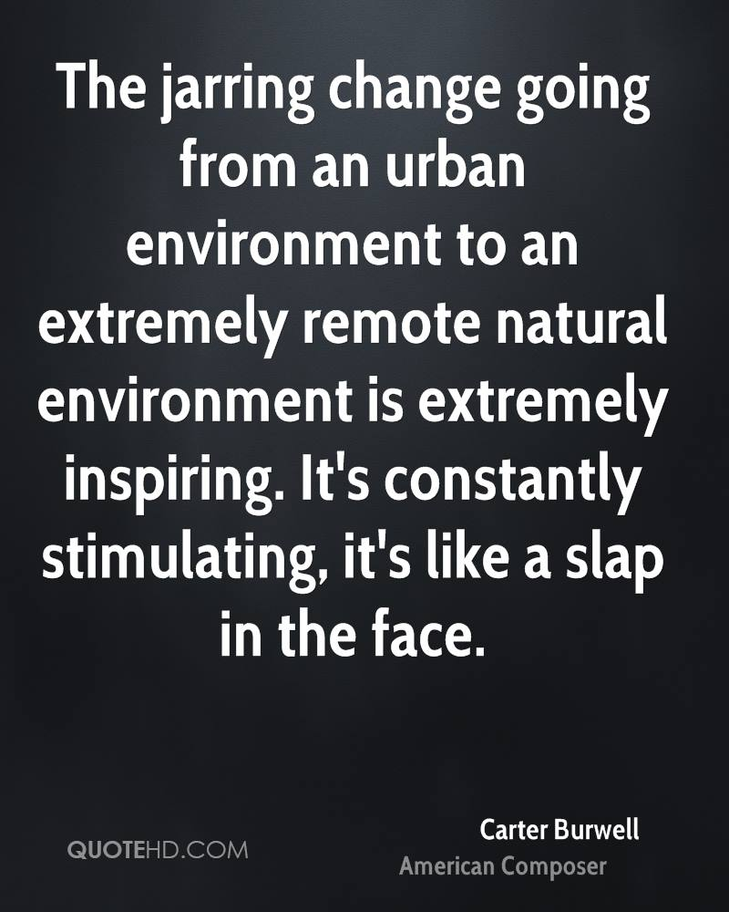 The jarring change going from an urban environment to an extremely remote natural environment is extremely inspiring. It's constantly stimulating, it's like a slap in the face.