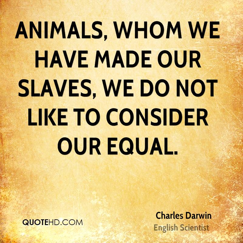 Animals, whom we have made our slaves, we do not like to consider our equal.