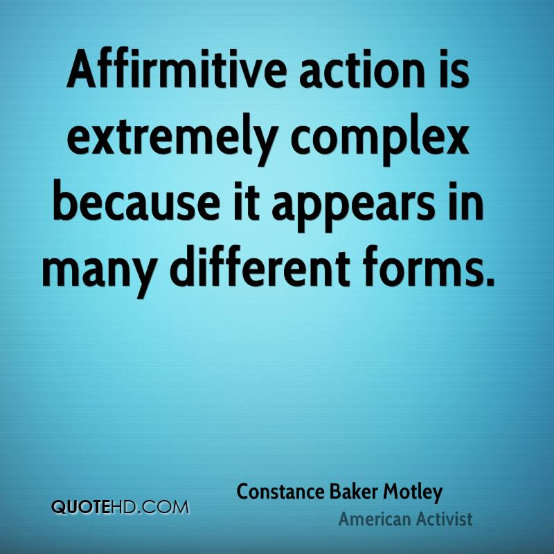 Affirmitive action is extremely complex because it appears in many different forms.