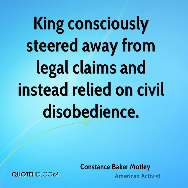 King consciously steered away from legal claims and instead relied on civil disobedience.