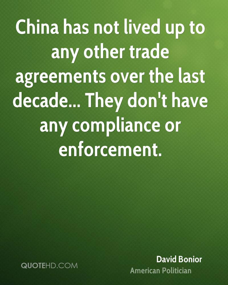 China has not lived up to any other trade agreements over the last decade... They don't have any compliance or enforcement.