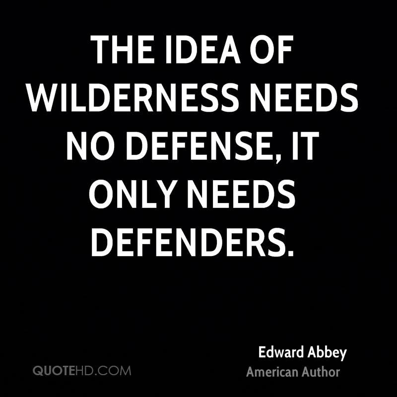 The idea of wilderness needs no defense, it only needs defenders.