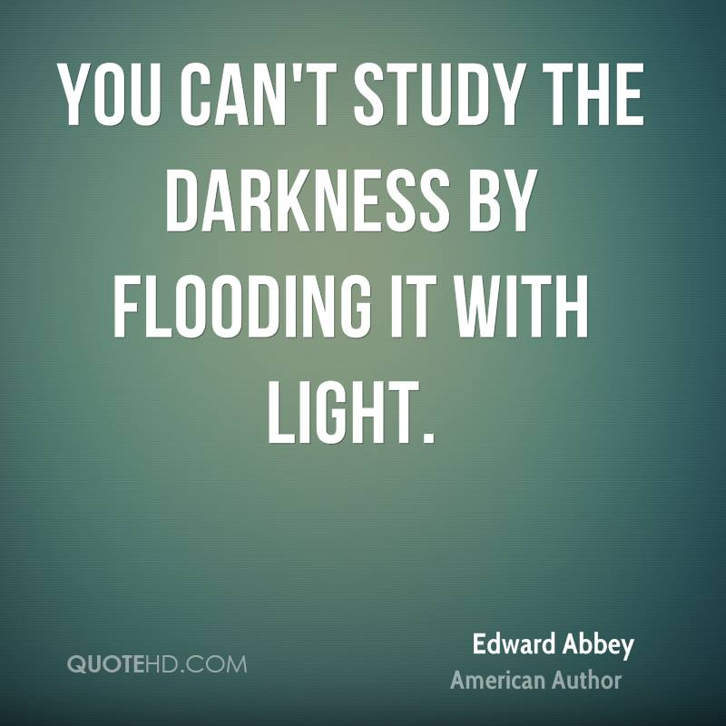 You can't study the darkness by flooding it with light.
